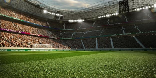 Stadio di calcio vuoto con i fan alla luce del sole