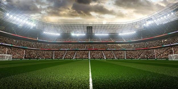 Stadio di calcio vuoto con i fan