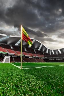 Stadio di calcio vuoto senza tifosi alla luce del sole serale
