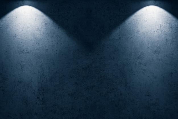 Spazio vuoto del fondo di struttura di lerciume del pavimento in cemento con riflettori blu.