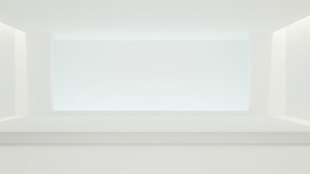 Rappresentazione interna 3d dello spazio vuoto in hotel