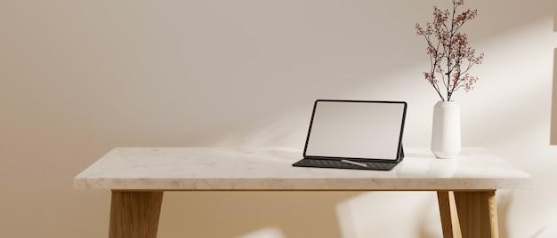 Spazio vuoto sulla scrivania in marmo con rendering 3d di montaggio mockup schermo vuoto tablet portatile