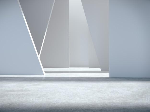 Spazio vuoto per la vetrina del prodotto nella stanza bianca.