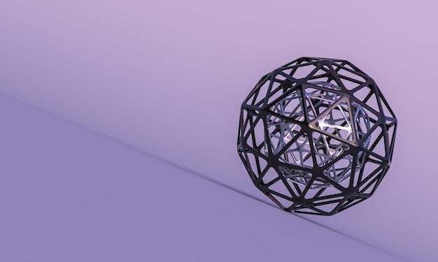 Forme geometriche astratte sferiche vuote su sfondo lilla. rendering 3d