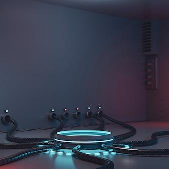 Proiettore stand vuoto in tema fantascientifico con led luminoso nella stanza del laboratorio