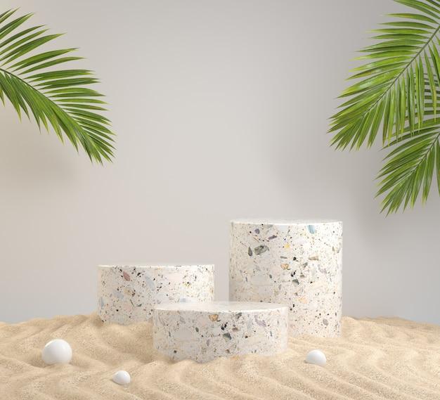 Podio di pietra di passaggio vuoto sulla spiaggia di sabbia dell'onda con il rendering 3d di sfondo scena naturale foglie di palma verde