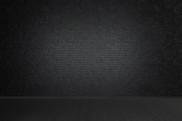 Stanza buia studio vuoto con muro di mattoni neri e pavimento in legno