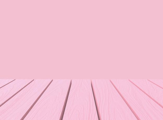 Tavolo di pannello di legno di colore rosa pastello dolce dolce vuoto nella priorità bassa della parete di stile di montaggio.