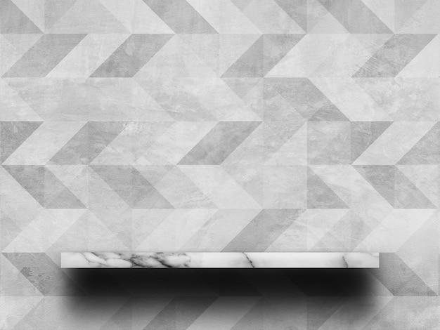 Parte superiore vuota della mensola in marmo bianco con il vecchio muro di cemento