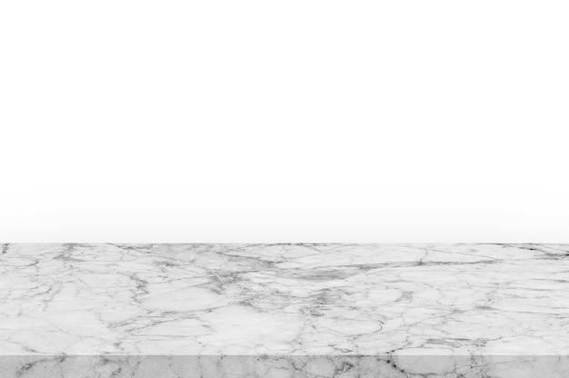 La parte superiore vuota del tavolo in pietra di marmo bianco su sfondo bianco può essere utilizzata per l'esposizione del prodotto