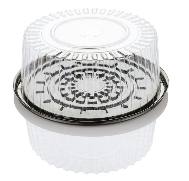 Contenitore di torta di plastica trasparente vuoto isolato su priorità bassa bianca con il percorso di residuo della potatura meccanica