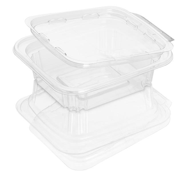 Contenitore per alimenti in plastica trasparente vuoto isolato su bianco con tracciati di ritaglio