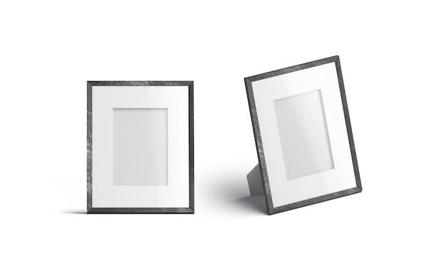 Vista frontale e laterale della cornice per foto da tavolo verticale vuota, isolata