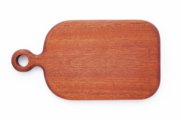 Vuoto vintage tagliere di legno isolato su sfondo bianco vista dall'alto.