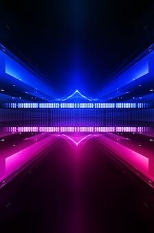 Scena del muro vuoto. riflessione scura della via sul pavimento bagnato. raggi di luce al neon nell'oscurità, figure al neon, fumo. vista notturna della strada, della città. muro scuro astratto. riflettori astratti.
