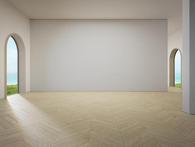 Muro di cemento bianco vuoto sul pavimento di legno del soggiorno luminoso nella moderna casa sulla spiaggia