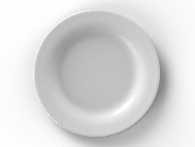 Piatto bianco vuoto su sfondo bianco
