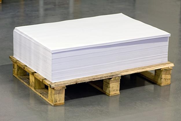 Documenti bianchi vuoti sopra il pallet di carta