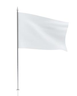 Bandiera bianca vuota isolata su sfondo bianco