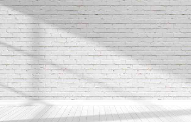 Stanza luminosa bianca vuota con mattoni. illustrazione 3d