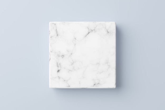 Podio di marmo bianco vuoto su sfondo di colore blu
