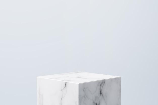 Podio di marmo bianco vuoto su sfondo di colore blu pastello