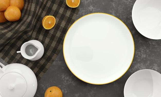 Piatto bianco vuoto e ciotola su sfondo di cemento scuro con frutta arancione, brocca di latte, teiera. 3d