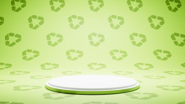 Piattaforma bianca vuota su recycle symbol pattern studio