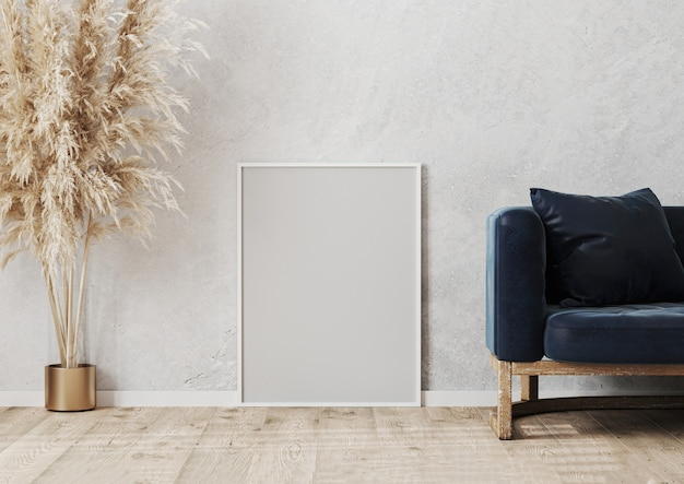 Mockup di cornice poster bianco vuoto sul parquet in legno vicino al muro di cemento grigio nella scena di interior design moderno con divano blu, vaso, rendering 3d