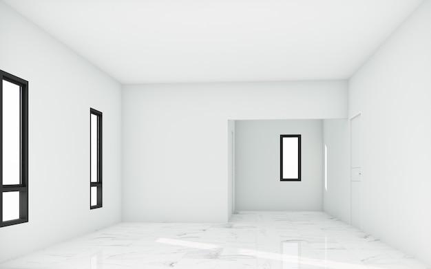 Stanza bianca vuota con finestre e luce solare e pavimento piastrellato in pietra bianca. rendering 3d