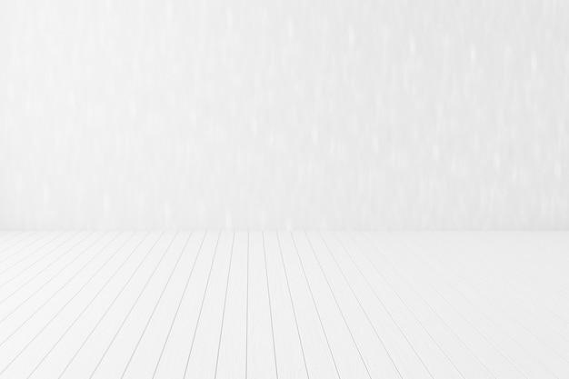 Angolo di pareti bianche vuote e pavimento in legno bianco interno