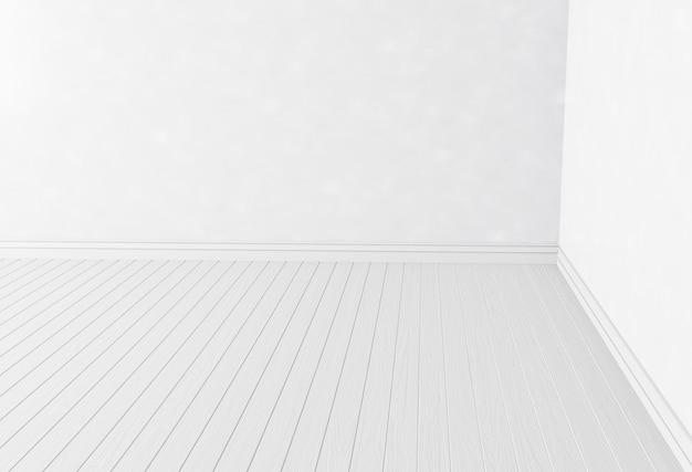 Angolo di pareti bianche vuote e pavimento in legno bianco minimal