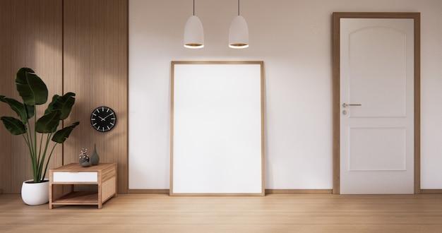 Parete in legno bianca vuota sul design degli interni del pavimento in legno