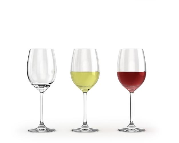 Bicchieri di vino vuoti con vino rosso e bianco isolato su bianco
