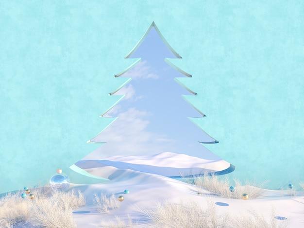 Scena di natale invernale vuota con cornice a forma di albero di natale.