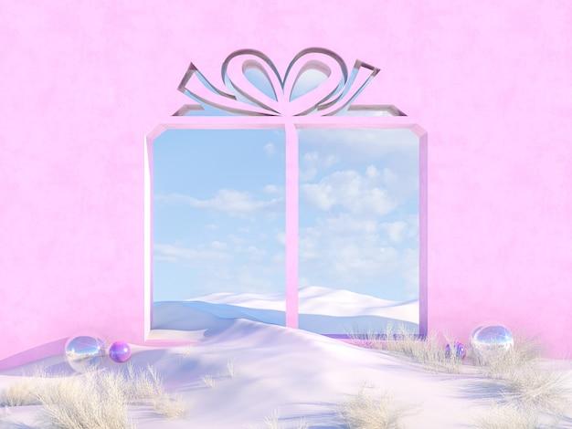 Scena di natale invernale vuota con cornice a forma di scatola regalo.