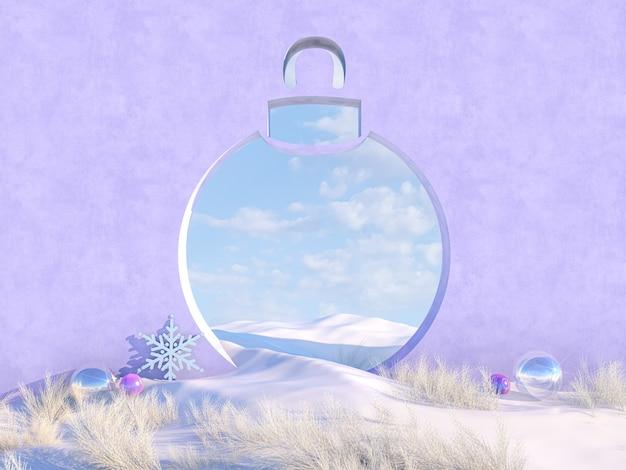 Scena di natale invernale vuota con cornice a forma di palla di neve.