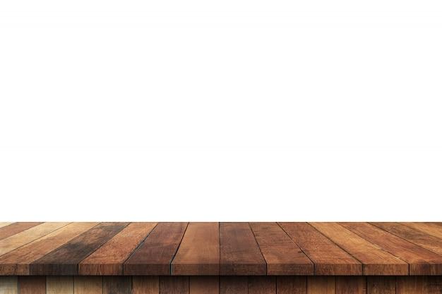 Svuoti la tavola di legno sul fondo bianco dell'isolato e visualizzi il montaggio con lo spazio della copia per il prodotto.