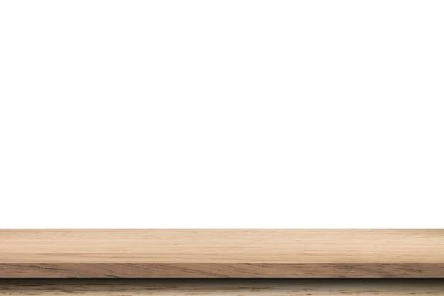 Tavola di legno vuota su sfondo bianco isolato e montaggio del display con lo spazio della copia per il prodotto.