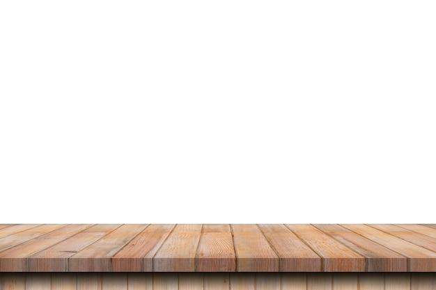 Tavola di legno vuota sul montaggio bianco e display isolato con spazio di copia per il prodotto.