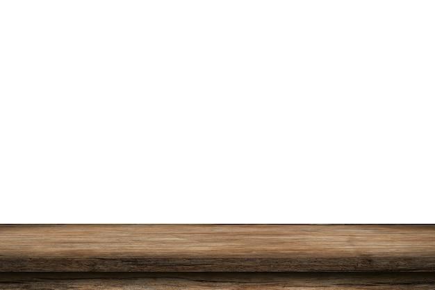Tavola di legno vuota sul bianco dell'isolato