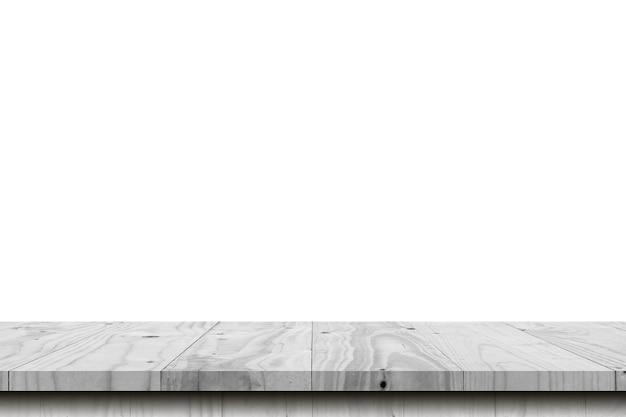 Tavola di legno vuota su priorità bassa bianca