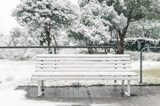 Panca in legno vuota ricoperta di neve posta sulla passerella di asfalto nel parco in inverno