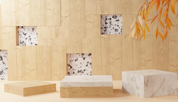 Supporto vuoto in legno e ceramica con rendering 3d di congedo