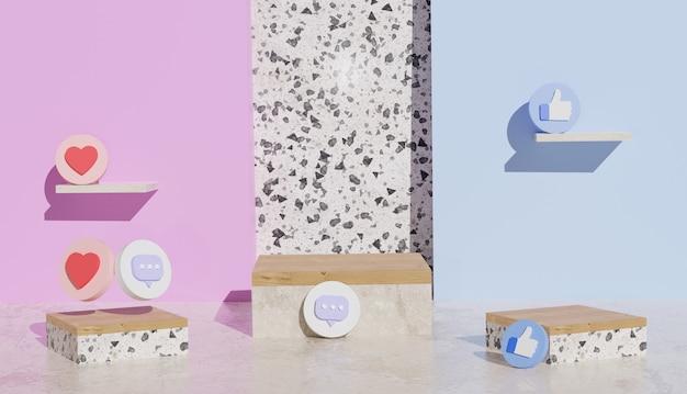 Supporto vuoto in legno e ceramica con simboli di social media con rendering 3d di congedo