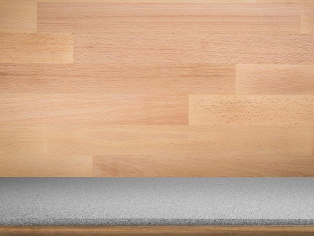 Piano di lavoro in legno vuoto con sfondo in legno grunge