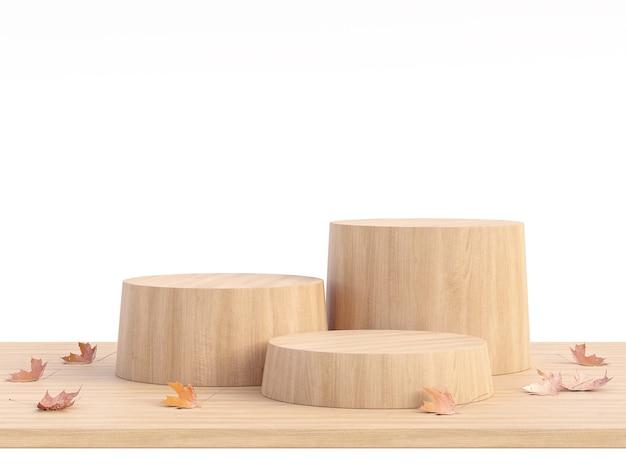 Il podio vuoto del cilindro di legno con il concetto di autunm isolato su fondo bianco 3d rende l'illustrazione