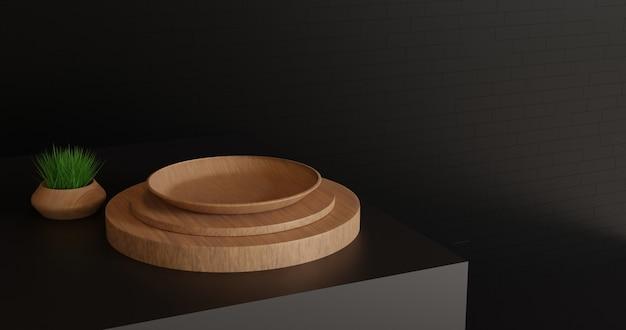Piatto di legno vuoto sulla superficie nera
