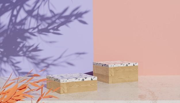 Supporto in legno vuoto e terrazzo con rendering 3d e sfondo colorato con ombre di foglie