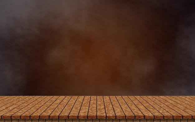 Tavolo in legno vuoto isolato su sfondo marrone scuro e fumoso. per simulare il tuo prodotto
